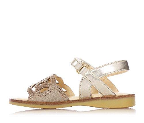 FLORENS - Sandale dorée en cuir, avec fermeture en Velcro, couverte par strass sur la partie frontale, semelle orthopédique en cuir, Fille, Filles