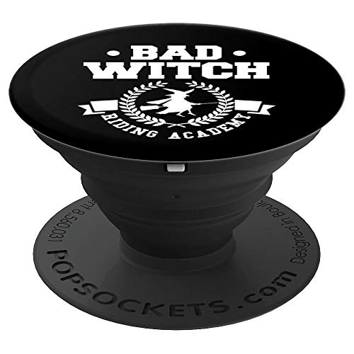 Bad Witch Riding Academy Collegiate Broom Halloween - PopSockets Grip and Stand for Phones and Tablets ()