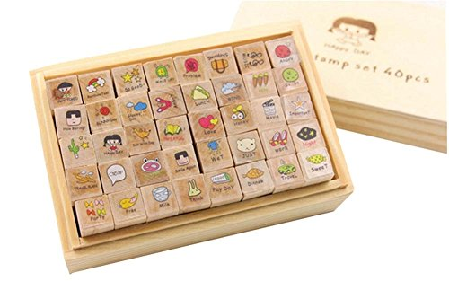 40 Pieces Creative Cute Wooden Stamp Wooden Seal Small Stamp