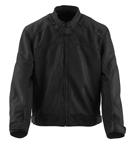 Black Brand Men's Mesh Flow Motorcycle Jacket (Black, Medium)