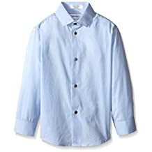 Calvin Klein Dress Up Little Boys' End On End Dobby Long Sleeve Shirt