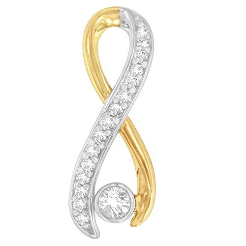 10K Two-Tone Gold Round Cut Diamond Radiant Ribbon Pendant Necklace (0.20 cttw, H-I Color, I1-I2 Clarity)