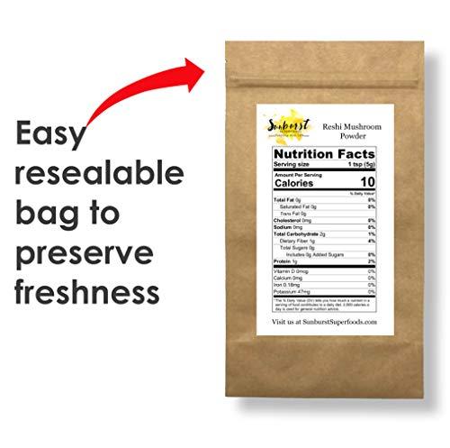 Sunburst Superfoods Organic Reishi Mushroom Powder -1lb Raw Non-GMO 100 Pure Gluten-free for Cardio-health Immune system