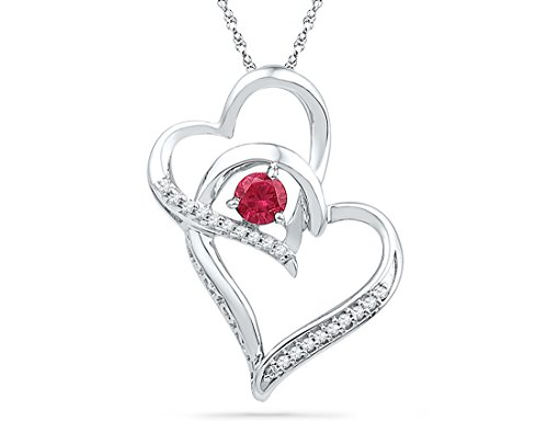Sterling Silver Double Heart Pendant Necklace with Lab Created Ruby 1/4 Carat (ctw)