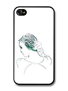 fashion case Girl with Long Hair Drawing Original Art Illustration case for iphone 5 5s