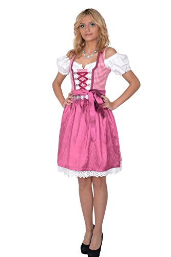 Dirndl Set 3tlg Trachtenkleid 301gt Pink karriert 38