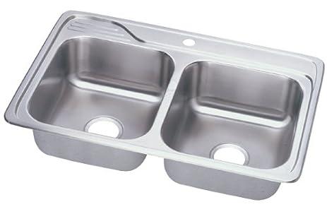 Elkay ECC33221 Gourmet Celebrity Sink, Stainless Steel - Double ...