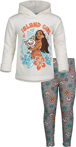 Show Girl Outfits (Disney Moana Toddler Girls' Fleece Hoodie and Leggings Clothing Set (White,)
