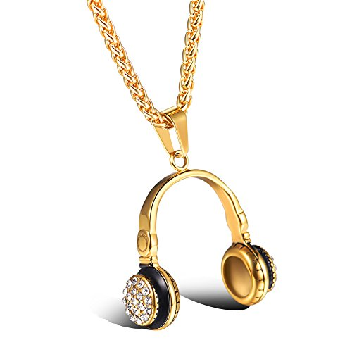 U7 Jewelry Stainless Steel Cubic Zirconia CZ Microphone Headphone Pendant Necklace Men Personalized Gift