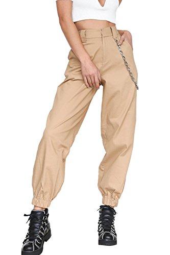 Harem Catena Pantaloni Donne sciolto Vepodrau caviglia alla Solido Beige Casual Le Con Pantaloni Bta1x4qWw