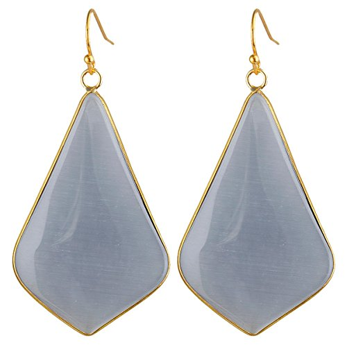 rockcloud Crystal Stone Dangle Earrings Gold Plated, Rhombus Shape, Grey Cat's Eyes