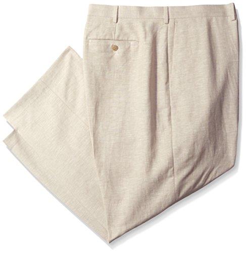 Cubavera Men's Big and Tall Easy Care Linen-Blend Flat-Front Dress Pant, Khaki, 44W x 30L