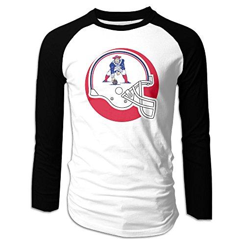 UglyBee New England Pat Patriot Men's Long Sleeve Raglan Shirti, Color BlackSize XXL