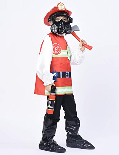 IKALI Disfraz de Bombero para niños, Fuego Abrigos Jefe El Juego de aparentar Equipo con Accesorios(5piezas) 3-4años