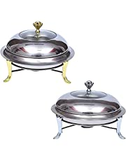 DASHUAIGE 2Pack Full Size Chafing Dish Stainless Steel Round Chafer Dinner Serving Buffet Warmer with Visible Lid, Food Pans and Fuel Holders for Catering Party