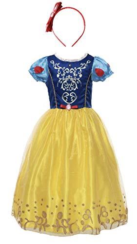 FashionModa4U Snow White Girls Costume Dress and Headband, -
