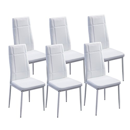 Merax 6pcs Dining Chairs in White with Metal Leg and PU leather (6 Pcs, White)