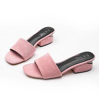 NVXZD Negro ocasional de la PU de la PU del slingback del verano de las sandalias de las mujeres Rosa