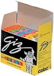 Giz Escolar, Plastificado, Calac, Colorido, Caixinha com 50 Unidades