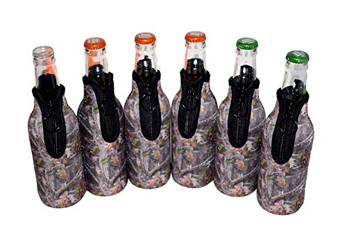 QualityPerfection 6 Beer Bottle Cooler Sleeves - Extra Thick Neoprene,Stitched Fabric Edges&Bonus Bottle Opener Great 4 Parties,Holiday,Events (Forest Camo, 6)