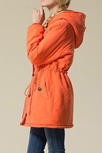 Zip Coat Lined Drawstring Plus Orange Women Size Up Hooded Mupoduvos Warm Winter Jecket Parkas wqzXURS