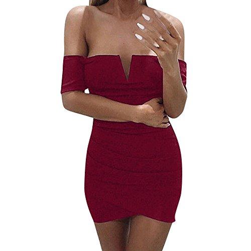 ALIKEEY La Mujer Sin Mangas con Cuello En V Vestido De Fiesta Corto Mini Venda Damas Casual Strapless Mini Vestido De Fiesta De Noche Corto. Rojo