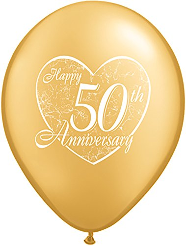Qualatex Latex Balloons 037185 Happy 50th Anniversary Heart-Gold, 11