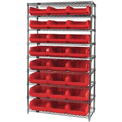Quantum Storage 24-Bin Chrome Wire Shelf Bin System - 18in.D x 42in.W x 74in.H Rack Size, Red Magnum Bins, Model# WR9531RD
