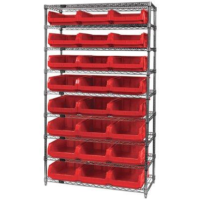 Quantum Storage 24-Bin Chrome Wire Shelf Bin System - 18in.D x 42in.W x 74in.H Rack Size, Red Magnum Bins, Model# WR9531RD by Quantum