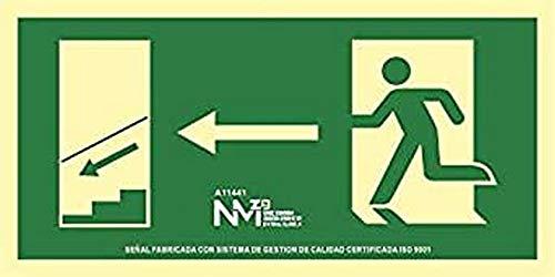 Normaluz RD11141 - Señal Luminiscente Salida Escalera Izquierda Abajo Clase B PVC 0,7mm 32x16cm con CTE, RIPCI y Apto para la Nueva Legislación: Amazon.es: Industria, empresas y ciencia
