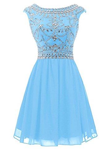 Hellblau emmani Homecoming Diamant Damen rund Kleid dreht Halsband Knie Snow und gF6HwFf1vq