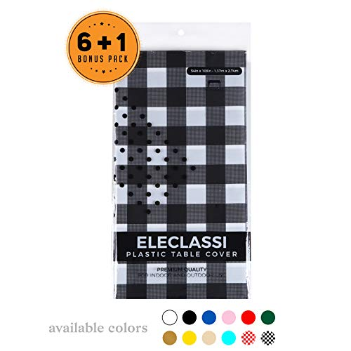 Black Gingham Checkered 7 Pack Disposable Plastic Table Cover 54 x 108 Inch - Waterproof Disposable Tablecloths for Rectangle Tables Up To 8 Feet in Length - Indoor or Outdoor Use - Party Table Cloths (Gingham Vinyl Tablecloth)
