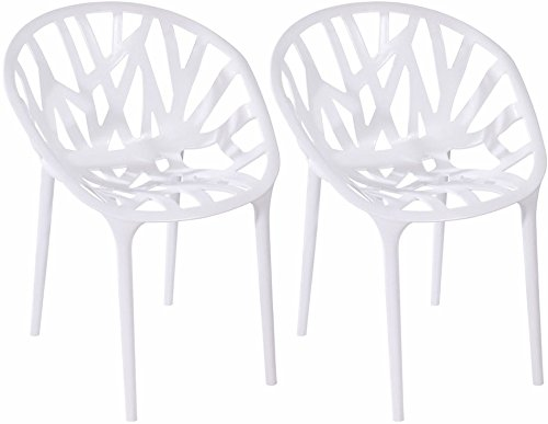 White Mod Made Branch Cut Out Dining Chair Stackable, White, Set of 2