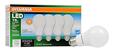 Sylvania Dimmable Led Light Bulb, 12 W, 120 V, 1100 Lumens, CRI 80, 2.375 in Dia X 4.42 in L, 4 Piece