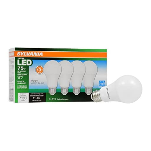 Sylvania Home Lighting 74429 Sylvania Ultra 75W Equivalent, A19 LED Light Bulb, Dimmable, Efficient 12W, Daylight Color 5000K (4 Pack), Piece