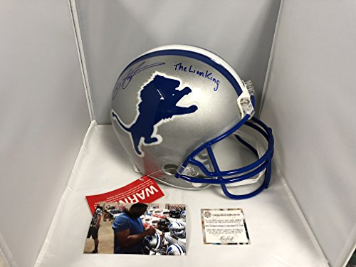 Barry Sanders Signed Autographed Detriot Lions Full Size Proline Authentic Helmet INSCRIBED THE LION KING Schwartz Sports Player Hologram & COA Card w/photo from (Barry Sanders Autographs)