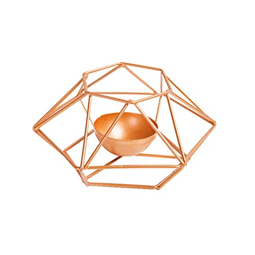OSALADI Candlestand Candle Holder Geometric Iron Tealight Holder Desktop Decor for Home Cafe Office (Golden) ()