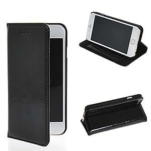 HAINENT [Negro] Multi-Function Flip Wallet PU de Cuero Funda Carcasa Soporte Stand con Tarjeta de Crédito Slots For Apple iPhone 6