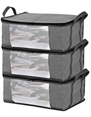 Storage Bins Storage Bags Sweater Storage Closet Organizer,Clothes Storage Containers, Closet Organizers and Storage, Large Clear Window & Carry Handles, Great for Clothes, Blankets, Closets