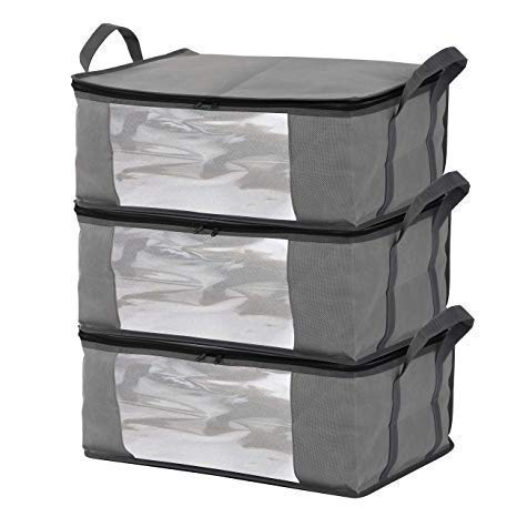 Storage Bins Storage Bags Sweater Storage Closet Organizer,Clothes Storage Containers, Closet Organizers and Storage, Large Clear Window & Carry Handles, Great for Clothes, Blankets, Closets ()