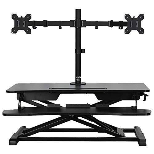 NavePoint Height Adjustable Sit Stand Ergonomic Desk Riser W/Keyboard Tray and Dual Mount ()