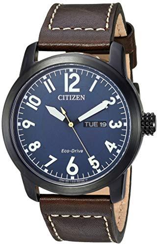 - Citizen Men's Eco-Drive Stainless Steel Quartz Leather Calfskin Strap, Brown Casual Watch (Model: BM8478-01L)