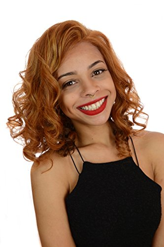 Beverley | Copper Ginger Mid Length Lace Front Curly Bob Hairstyle Wig | Premium Styleable Fibre (Long Ginger Wig)