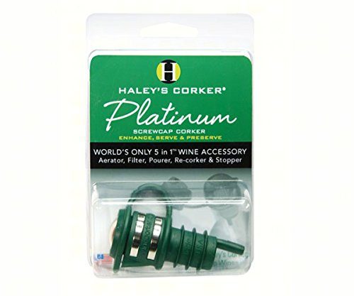 Haley's Corker HALEYPG1 Haleys Corker 5 in 1 Wine Tool Platinum Screwcap Green Clamshell