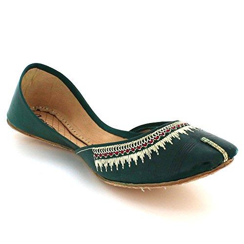 Ethnique Femmes Fait Plat Taille Chaussures Pompes Dames Traditionnel Khussa Indiennes Sur London Vert Main Glisser Cuir Aarz qIw54X