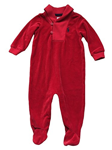 Ralph Lauren Baby Boy Footed Coverall Shawl Collar One-Piece, Solid Red Velour, 6 Months