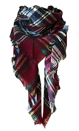 (Wander Agio Womens Warm Scarf Triangle Shawls Large Scarves Stripe Plaid Fichu Big New Purplish Red 24)