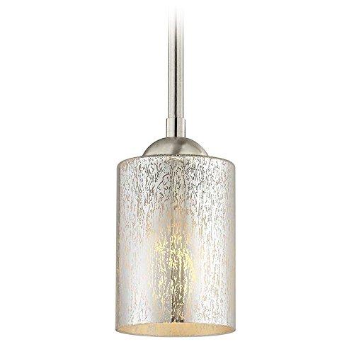 Satin Nickel Mini-Pendant Light Mercury Glass Cylindrical