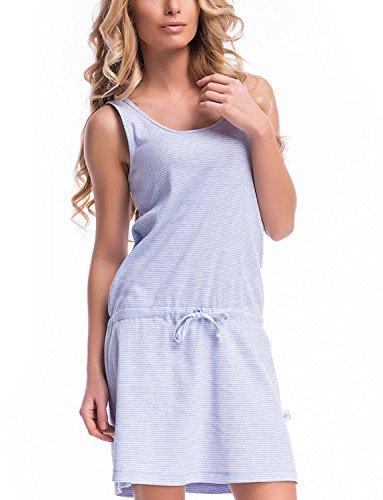 Dn-Nightwear TM.7018 Camisón De Noche Con Tirantes- Hecho En UE Azul