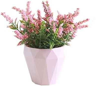 RIsxffp 1Pc Hogar decoración Flor Artificial Lavanda cerámica Olla Bonsai jardín Boda decoración Pink: Amazon.es: Hogar